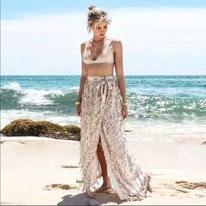 Dresses & Skirts - *NEW* Sequin boho high waist side slit maxi skirt
